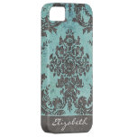 Vintage Damask Pattern with Name - teal grey Case For The iPhone 5