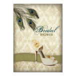 vintage damask peacock wedding bridal shower 5x7 paper invitation card
