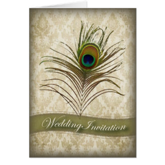 Vintage damask peacock wedding invitation