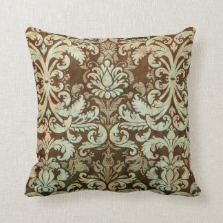 Vintage Damask Pillow Elegant Green Brown