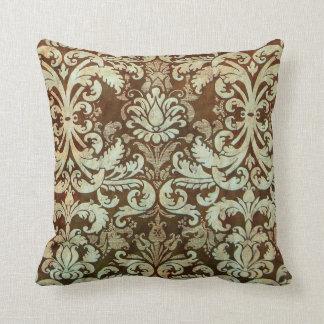 Vintage Damask Pillow Elegant Green Brown Cushions