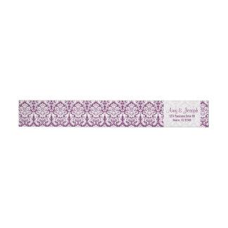 Vintage Damask Purple White Return Address Wraparound Return Address Label
