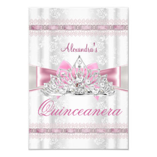 Vintage Damask Quinceanera 15th Birthday Party sml Card