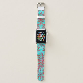 Vintage Damask Red Blue Apple Watch Band 42MM