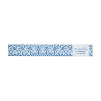 Vintage Damask Royal Blue White Return Address Wraparound Return Address Label
