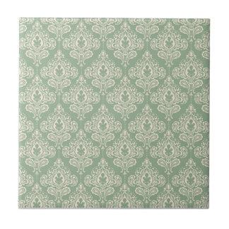 Vintage Damask - Sage Green Small Square Tile