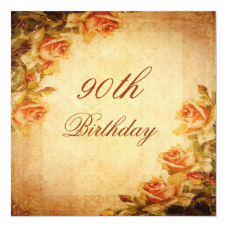 Vintage Damask Shabby Chic Peach Roses 90th Card
