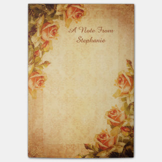 Vintage Damask Shabby Chic Peach Roses Post-it Notes