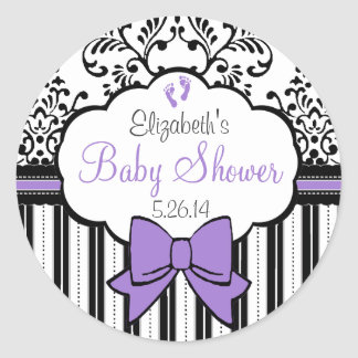 Vintage Damask, Stripes And Bow Purple Baby Shower Round Sticker