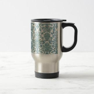 Vintage Damask Turquoise Grunge Rustic Travel Mug