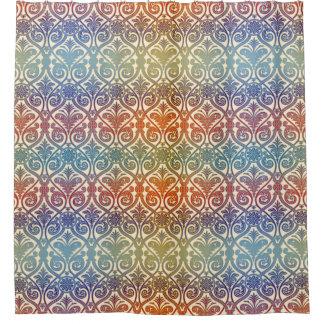 Vintage Damask Wallpaper contour - blue violet red Shower Curtain