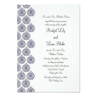 "Vintage Damask Wedding Invitation (blue) 5"" X 7"" Invitation Card"