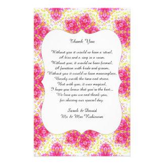 Vintage Damask Wedding Poem Thank You Favor Scroll 14 Cm X 21.5 Cm Flyer