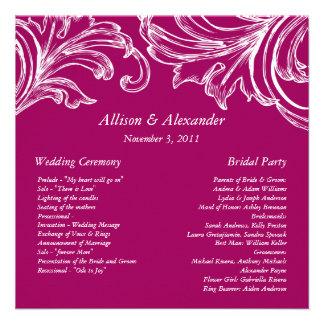 Vintage Damask Wedding Program  RASPBERRY & White Invites
