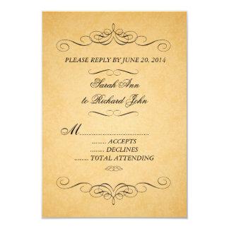 "Vintage Damask Wedding RSVP Swirls Flourish 3.5"" X 5"" Invitation Card"