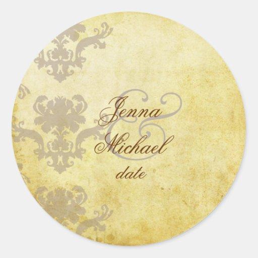 Vintage Damask wedding stickers