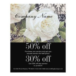 vintage damask white rose floral fashion business 11.5 cm x 14 cm flyer