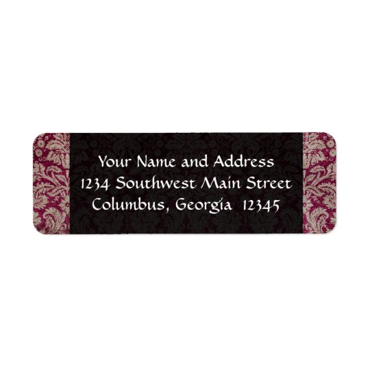Vintage Damask Wine, Personalised Return Address Label