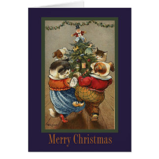 Vintage Dancing Animals Christmas Card