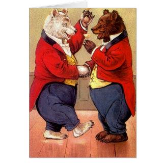 Vintage Dancing Bears Toast Toasting Za Vas! Card