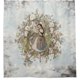Vintage Dancing Gypsy Floral Mix and Match Shower Curtain