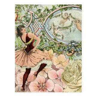 Vintage Dancing Gypsy with Flowers and Ephemera Postcard