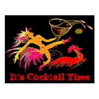 Vintage Dancing Lady Martini Rooster Cocktails Bar Postcard