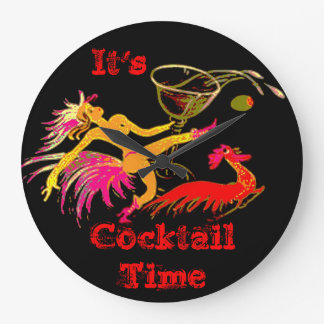 Vintage Dancing Lady Martini Rooster Cocktails Bar Wall Clocks