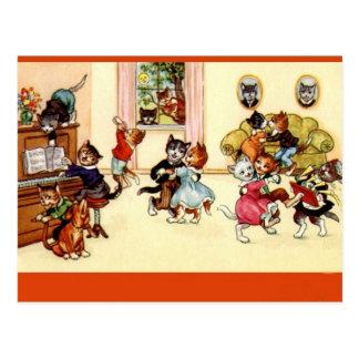 Vintage Dancing Party Cats Postcard