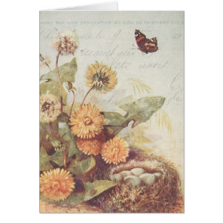Vintage Dandelions Butterfly Bird Nest Thank You Card
