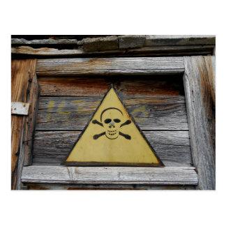 Vintage Danger Sign On Old Wood Postcard