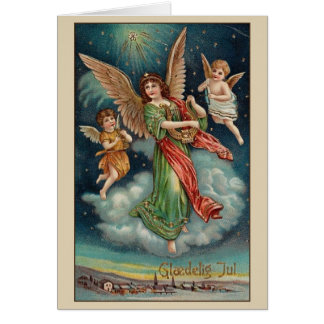 Vintage Danish Angels Glædelig Jul Christmas Card