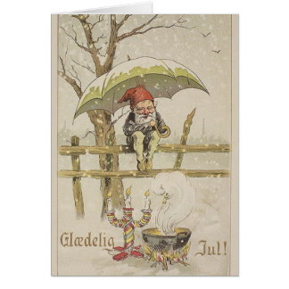 Vintage Danish Glaedelig Jul Christmas Card