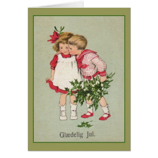 Vintage Danish Glædelig Jul Christmas Card