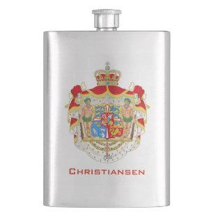 Vintage Danish Royal Coat of Arms of Denmark Hip Flask