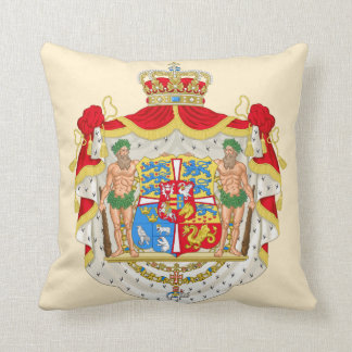 Vintage Danish Royal Coat of Arms of Denmark Throw Pillow