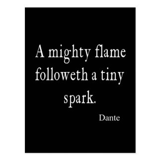 Vintage Dante Mighty Flame Tiny Spark Quote Quotes Postcard