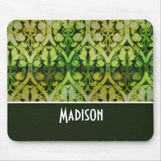 Vintage Dark Green Pattern Mouse Pad