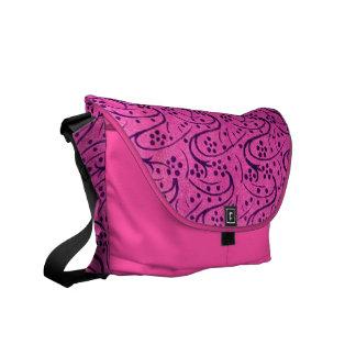Vintage Dark Pink Floral Messenger Bag