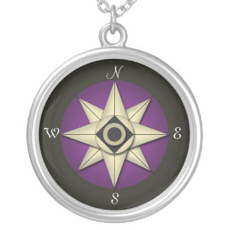 Vintage Dark Purple Compass Necklace
