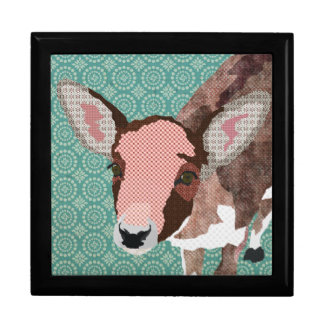 Vintage Darling Deer Turqoise Gift  Box Large Square Gift Box