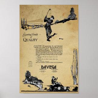 Vintage Davega Sporting Goods Ad Poster