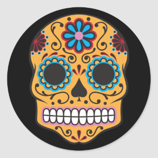 Vintage Day of the Dead Sugar Skull Sticker