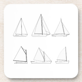 Vintage Day Sailing Sailboats Logo Coaster