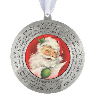 Vintage Dear Santa Claus Round Pewter Decoration