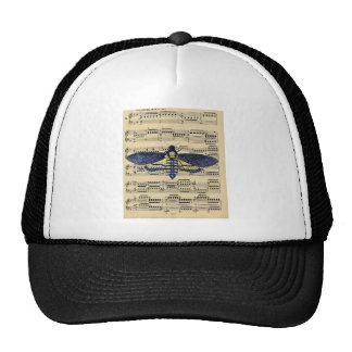 Vintage death moth music sheet mixed media trucker hat