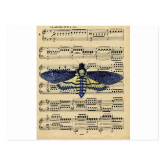 Vintage death moth music sheet mixed media postcard
