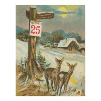 Vintage December 25th Deer Post Cards
