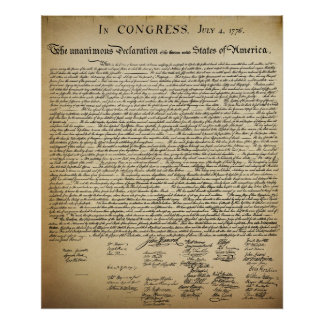 Vintage Declaration of Independence Original Size Poster