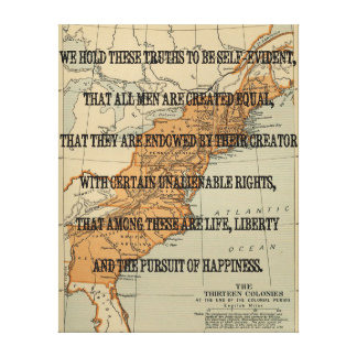 Vintage Declaration of Independence verse with a Canvas Prints